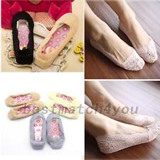 Antiskid Womens Low Cut Socks Non-slip Ladies Ankle Slippers Floral Lace  Liner