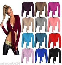 New Ladies Women's Tie Front Bolero Long Sleeve Cropped Top Shrugs Cardigan 8-14
