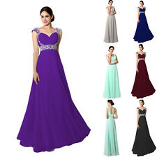 Plus Size Long Beading Party Formal Bridesmaid Dress Wedding Prom Gown UK 4-22