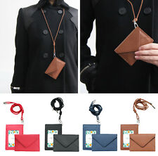 Women Faux Leather ID Holder Wallet Student ID Access Card - Snap Button + Strap