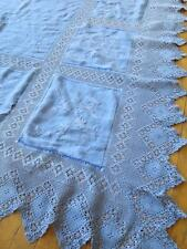 Antique Irish Linen Bed Cover- Hand Embroidered Thistles & Crochet Trim- Repair