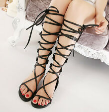 Strappy Gladiator Sandals Flat Shoes Knee Length Black Gold Casual Sexy