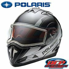 NEW PURE POLARIS BLACK/WHITE MODULAR FULL FACE SNOWMOBILE HELMET ECE - (S-4XL)