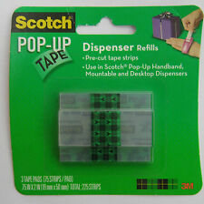 3M Scotch Pre Cut Clear Pop-Up Tape Dispenser Refills 3 Pad Per Pack =225 Strips