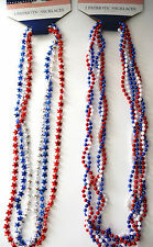 """4TH OF JULY 3 PIECE BEADS..PATRIOTIC 3 PIECE BEADS RED WHITE BLUE 32"""" 3 PIECE"""