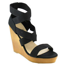 Beston EB91 Women's Platform Elastic Criss Cross Strappy Ankle Cuff Wedge Sandal