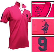Mens MAX Racing Polo Shirt Fuchsia with Embroidered Horse & Rider SLIM FIT