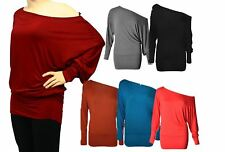 Ladies off shoulder Bat wing top - Lots of Colours - Plus sizes available