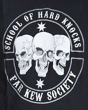 SCHOOL OF HARD KNOCKS T SHIRT LONG SLEEVE 3 SKULLS FAR KEW AUSTRALIAN BIKER TEE
