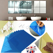 UK 9/16Pcs DIY Square Mirror Tile Wall Stickers 3D Decal Mosaic Home Room Decor