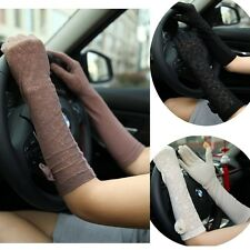 Lady Summer Outdoor UV Protection Elbow Long Golve Driving Colorful Lace Gloves