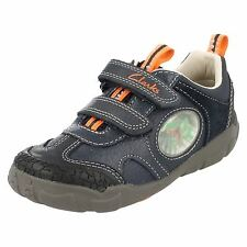 **SALE** Clarks 'Stompo Jaw' Boys Navy Leather Velcro Trainers F FIT