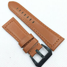 24mm 120/75 Orange Waxy Calf Leather Strap Black Brushed Screw Pre-V Buckle