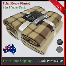 Queen Single Size Blanket Polar Fleece Rug Throw Warm Soft Blankets Bed Soft