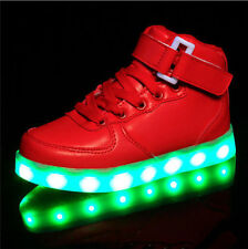 New Fashion Boys Girls LED Light up Velcro Sneakers USB Charger High Shoes CF22