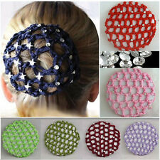 Women Bun Cover Snood Hair Net Ballet Dance Skating Crochet Fashion Rhinestone