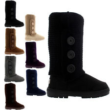 Ladies 3 Button Knitted Cardy Fur Lined Flat Winter Snow Rain Boots All Sizes