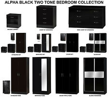 Alpha Black High Gloss Two Tone | Modern Bedroom Furniture Units & Trio Sets