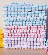 Pack Set Terry Cotton Tea Towels Kitchen Dish Cloths Large Cleaning Check Stripe