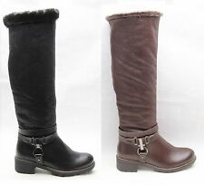 WOMENS LADIES SHOES LOW HEEL FLAT FUR BUCKLE TRIPLE STRAP KNEE HIGH RIDING BOOTS