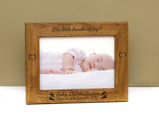 "PERSONALISED LASER ENGRAVED NEWBORN BABY  7"" X 5"" PHOTO PICTURE FRAME"