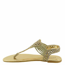 Bamboo Sonata 65S Gold Women's Embellished T-Strap Sandals