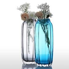 Modern Hand Blown Ribbed Design Glass Vase Art Vase Blue / Grey Decorative B4P1