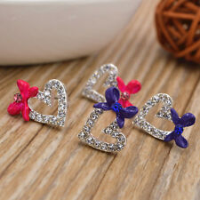 Fashion Women Rhinestone Love Heart Earrings Fashion Bow Ear Studs Earring