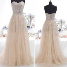 Elegant Strapless Long Sequins Evening Prom Formal Bridesmaid Ball Gown Dress