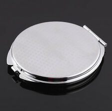 DIY Pocket Make-up Mirror Portable Compact Metal Cosmetic Mirror Silver Colour