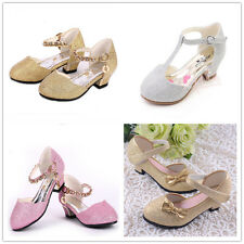 I24 Cute Bow Bling Shiny Low-heeled Girls Princess Hot Rhinestone Sandals Shoes