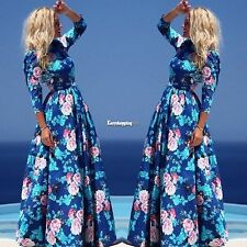 3/4 Sleeve Women Casual Bohemian Style Sundress Party Long Print Maxi Dress ES9P