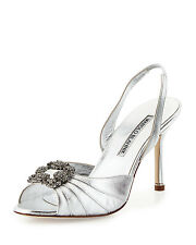 $935 NEW MANOLO BLAHNIK Cassia SILVER HANGISI  JEWELED Sandals SHOES Wedding 39
