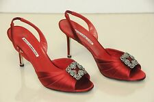 $935 NEW MANOLO BLAHNIK Cassia Red HANGISI Buckle JEWELED Sandals SHOES 39.5