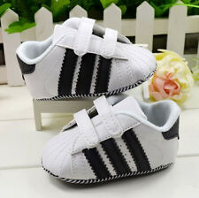 Infant Baby Boy White Velcro Soft Sole Crib Shoes First  shoes  0 to18 Months