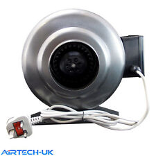 Inline Duct Extractor Hydroponics Bathroom Fan Industrial Steel Body 250mm 10""