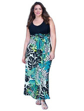 Womens Ladies Plus Bold Tropical Leaf Print Maxi Dress Navy Top Size 16-28