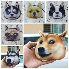 Women Cute Dog Face Zipper Case Kids Coin Purse Wallet Girl Makeup Bag Pouch