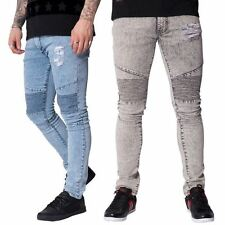 NEW MENS SEVEN SERIES COBRA SKINNY ACID WASH SCUFFED STRETCH DENIM BIKER JEANS