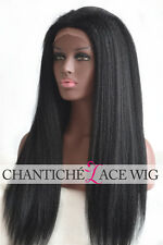 150% ITALIAN YAKI FULL LACE WIG Black Women 6A Indian Remy Human Hair Lace Front