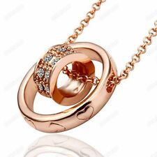 Women Austrian Crystal Chain Necklace Fashion 18k Gold Plated  Round Pendant