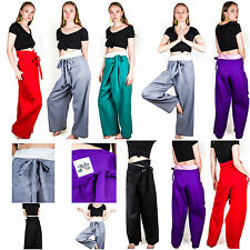 Thai Fisherman Pants Fair Trade 100% Soft Cotton Unisex Yoga Boho Harem Trousers
