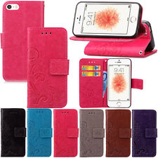 Flower Wallet Stand Flip Leather Card Stand Case Cover For iphone 5 5C 5S SE