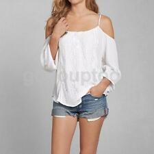 UK 6-14 Sexy Women Lace Casual Blouse Off Shoulder Loose V Neck Tops Tee Shirt