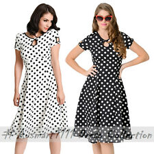 Retro Rockabilly 50s Housewife Pinup Vintage Style Swing Polka Dot Evening Dress