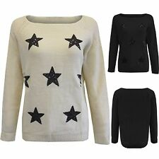 NEW LADIES SEQUIN STAR SLASH NECK JUMPER WOMENS KNITTED LONG SLEEVE SWEATER TOP