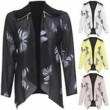 NEW WOMENS LADIES BUTTERFLY PRINT WATERFALL CHIFFON BLAZER JACKET CARDIGAN TOPS