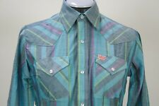 Ely Plains green purple striped pearl snaps western shirt 16, 18 New without tag