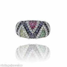 Yellow sapphire Silver Tsavorite Gemstone Pave Diamond Ruby Band Ring Jewelry