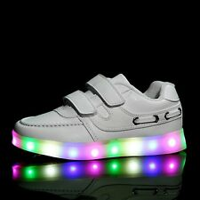 Kids Boys Girls LED Light USB Charge Flashing Velcro Sneakers Trainers Sneakers
